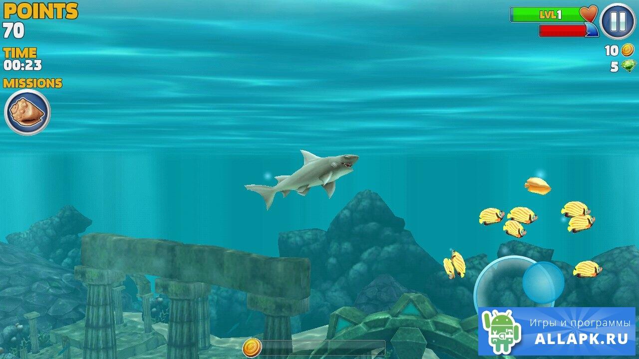 скачать взломанную игру hungry shark
